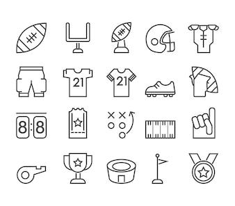 Icône de ligne de thème de football américain