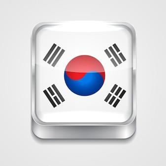 Icône du drapeau du style vectoriel 3d de la Corée du Sud