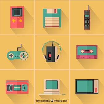 Icônes colorées de dispositifs rétro
