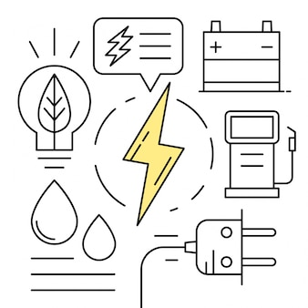 Icônes d'énergie linéaire Éléments environnementaux minimaux