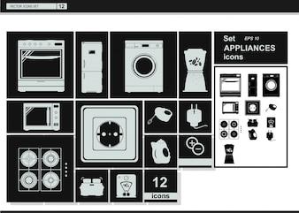 Icônes de collection de vecteurs. Appareils électroménagers