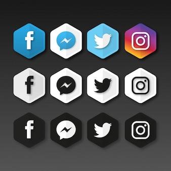 Icônes de médias sociaux Hexagonal