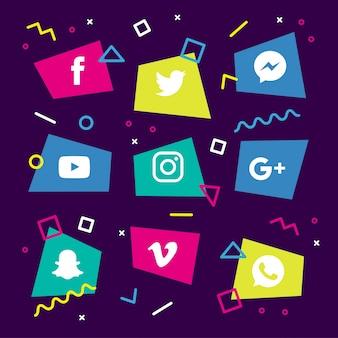 Icônes des memphis des médias sociaux