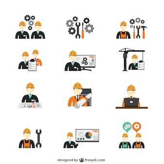 icônes ingénieur en construction