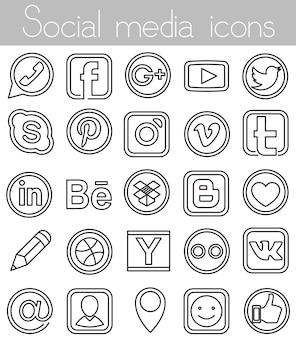 Icônes linéaires des médias sociaux