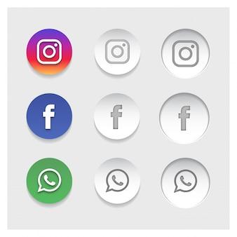 Icônes populaires de réseautage social