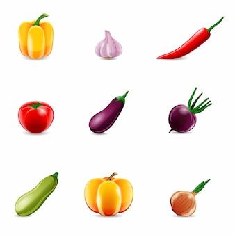 Icônes réalistes aux légumes