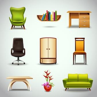 Icônes réalistes de meubles