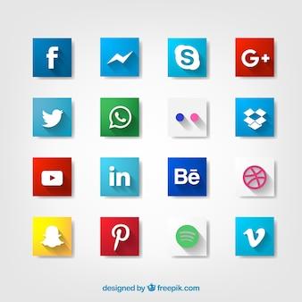 Icônes sociales avec design longue ombre
