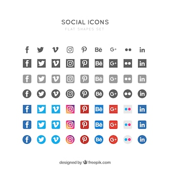 Icônes sociales plats