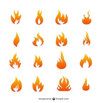 Icônes vectorielles de la flamme