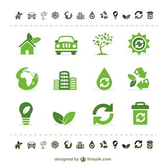 Icônes vectorielles vert écologie