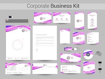 Identité d'entreprise ou Business Kit avec des ondes abstraites.