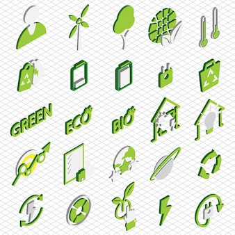 Illustration d'eco icons set concept in isometric graphic