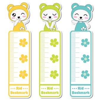 Illustration de dessin animé de vecteur avec des filles de panda mignon coloré et fleurs adapté à la conception de l'étiquette signet enfant, marque-page et jeu d'autocollants signet