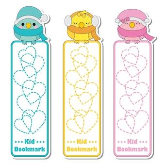 Illustration de dessin animé de vecteur avec des oiseaux colorés mignons et fond de l'amour adapté pour la conception de l'étiquette signet enfant, marque-page et jeu d'autocollants signet