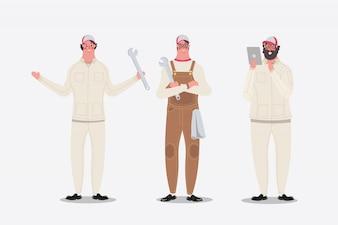 Illustration de dessin de personnage de dessin animé. Mécanique montrant des salutations et une tablette utilisée