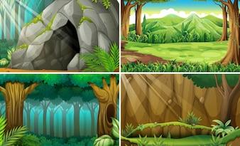 Illustration de quatre scènes de forêts et d'une grotte