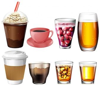 Illustration des boissons au café et au cocktail sur fond blanc