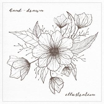 Illustration dessinée à la main de fleurs transparentes