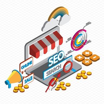 Illustration du concept de marketing en ligne en graphique isométrique