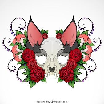 Illustration du crâne d'animal avec des roses et des ornements