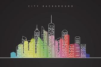 Illustration du paysage de la ville avec Silhouette colorée. Modern Vector Background du centre-ville