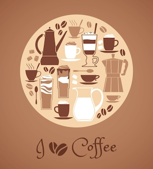 Illustration vectorielle d'éléments de conception de café.