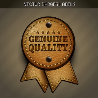 Illustration vectorielle d'étiquettes en cuir