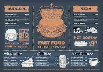 Illustration vectorielle d'un menu de restaurant fast food design, un café avec des graphismes dessinés à la main.
