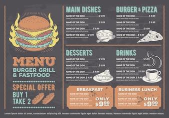 Illustration vectorielle d'un menu de restaurant fast food design, un café avec des graphismes dessinés à la main.