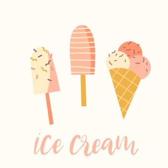 Illustration vectorielle de la crème glacée. Conception de l'élément.