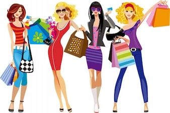 illustration vectorielle shopping girls