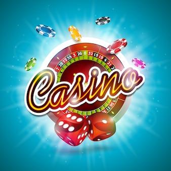 Illustration vectorielle sur un thème de casino avec des jetons de couleur jouant, roue de roulette et dés rouges sur fond bleu.