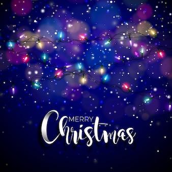 Illustration vectorielle sur un thème de Noël avec des lumières incandescentes et typographie. Creative Holiday design pour carte de voeux.