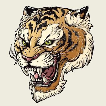 Illustration vectorielle, tête, féroce, tigre, blanc, fond