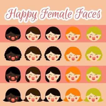 Illustrations de visages féminins heureux