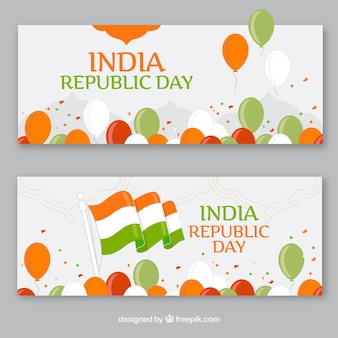 Inde bannières jour république emballent
