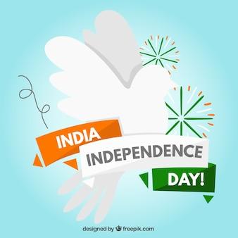 Inde indépendance fond jour avec colombe