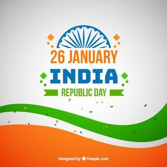 Indian république day background avec des confettis et des formes ondulées