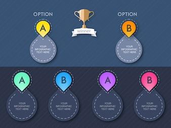 Infographie arrondie de couleur avec deux option