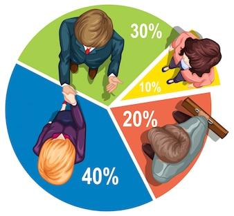 Infographie avec les gens et l'illustration piechart