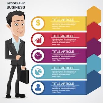Infographie avec personnage d'homme d'affaires