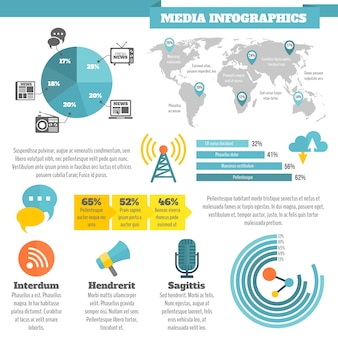 Infographie des nouvelles sociales des médias de radiodiffusion avec illustration vectorielle couleur plate