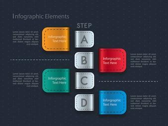Infographie métallique de couleur avec quatre étapes