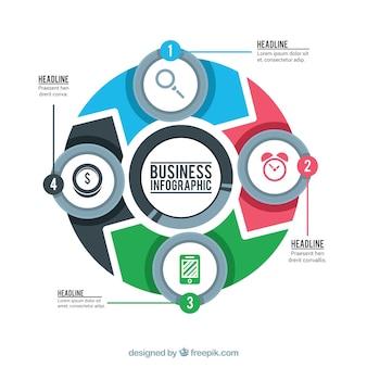 Infographie moderne avec des formes rondes