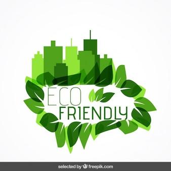 Insigne Eco avec paysage urbain et les feuilles