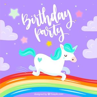 Invitation d'anniversaire avec licorne