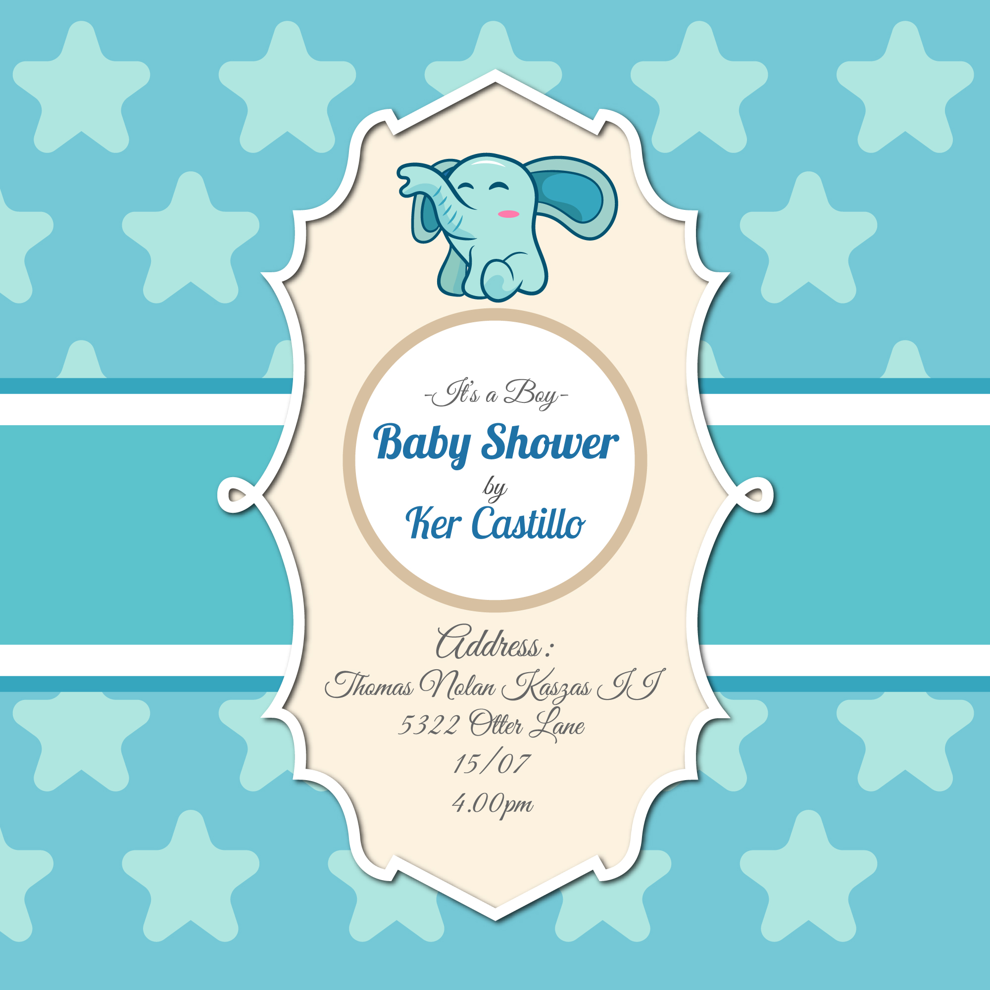 invitation de baby shower avec l phant