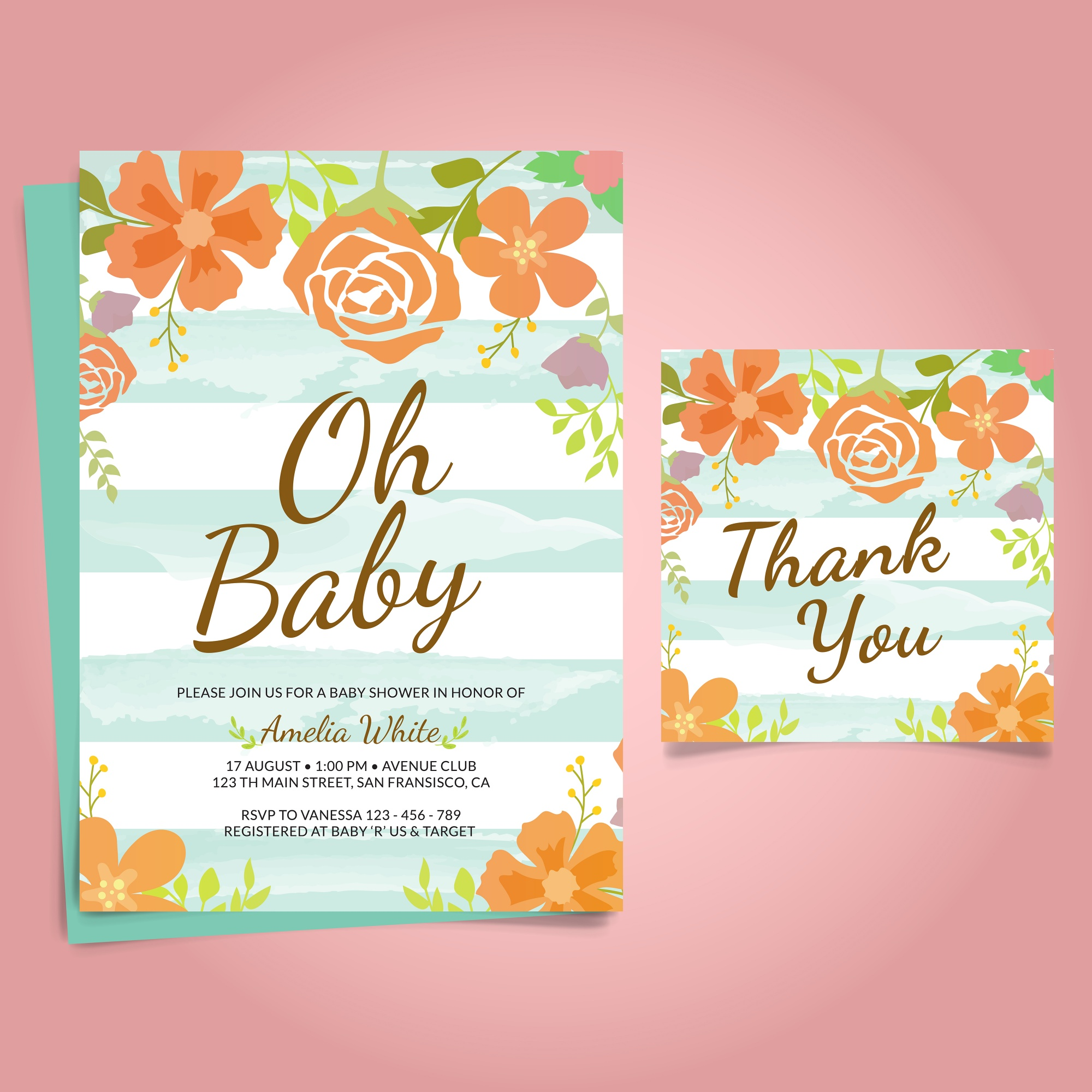 Invitation de baby shower avec Floral Frame